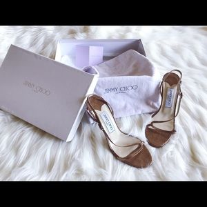 Jimmy Choo sandals in glitter gold leather sz 37.5